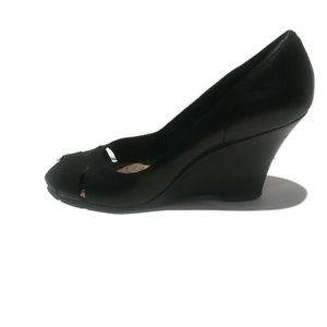 Kenneth Cole black leather open toe wedge